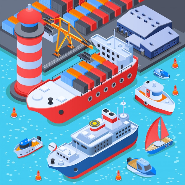 Port with ships isometric composition Free Vector