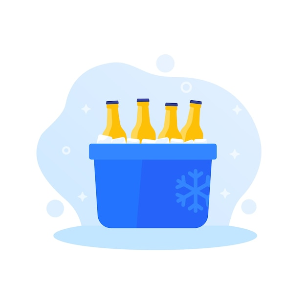 Portable ice cooler with soda bottles Premium Vector