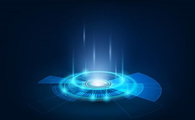 Hudスタイルのテレポート表彰台のポータルとホログラムの未来的な円要素。 gui、uiバーチャルリアリティプロジェクター。抽象的なホログラム技術。 Premiumベクター