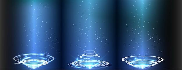 ポータルとホログラムの未来的な円要素。 hudスタイルのsky-fiデジタルハイテクコレクション。魔法陣テレポート表彰台。 gui、uiバーチャルリアリティプロジェクター。抽象ホログラム技術。ベクター Premiumベクター
