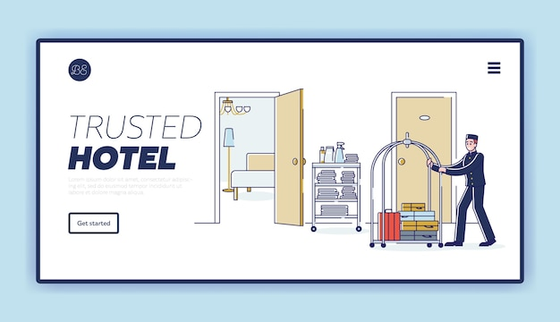 ポーターはトロリーで荷物をビジタールームに運びます。ホテルスタッフのランディングページ Premiumベクター