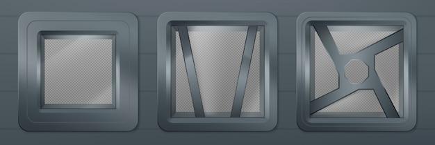 Иллюминатор в космическом корабле, металлические квадратные окна Бесплатные векторы