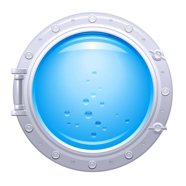 Иллюстрация иллюминатора корабля. окно подводной лодки с подводным видом. голубая вода с пузырьками. Premium векторы