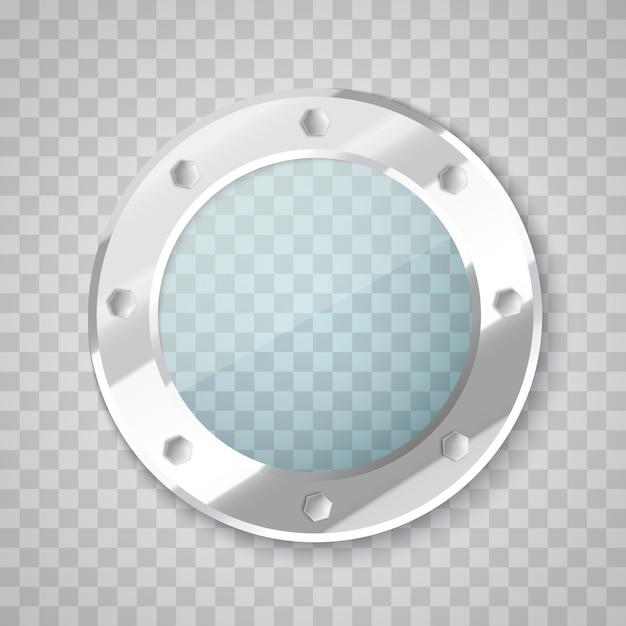 Иллюминатор с прозрачным стеклом. окно круга. Premium векторы