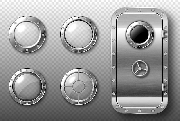 Иллюминаторы и металлическая дверь в космическом корабле, подводной лодке, лаборатории или бункере. векторный реалистичный набор круглых стеклянных окон со стальной рамой и заклепками и безопасной дверью Бесплатные векторы