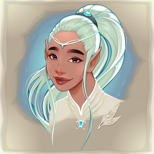 Ritratto di un bellissimo elfo sorridente Vettore gratuito