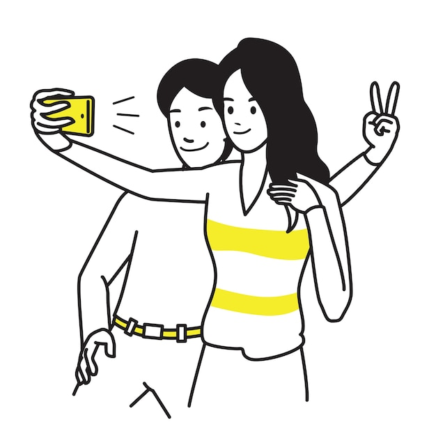 Portrait character of young man and woman, holding smartphone, making selfie photo with smile and happiness. Premium Vector