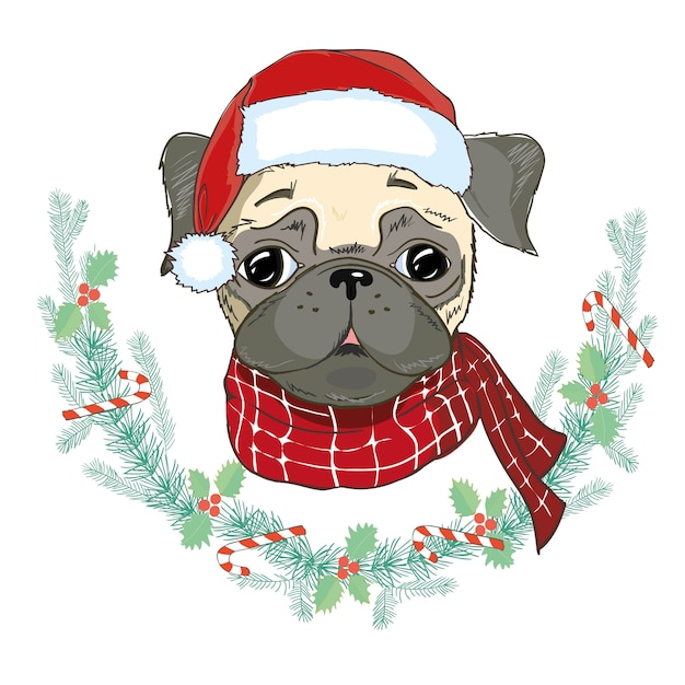 Portrait of cute french bulldog in red christmas hat. santa claus christmas. Premium Vector