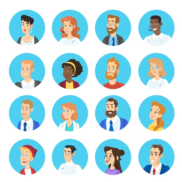 Portrait of different character set. collection of face avatar with various hairstyle. man and woman head.    illustration Premium Vector