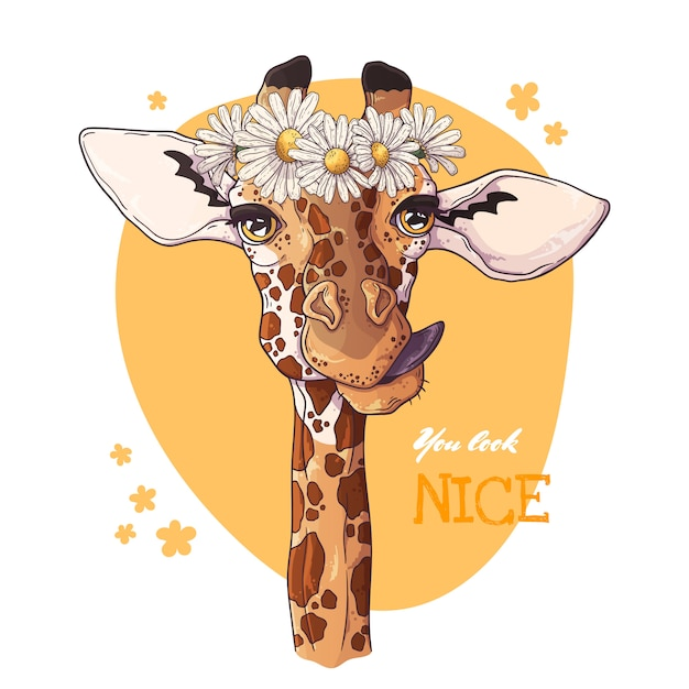 Portrait of giraffe with a wreath of daisies. Premium Vector