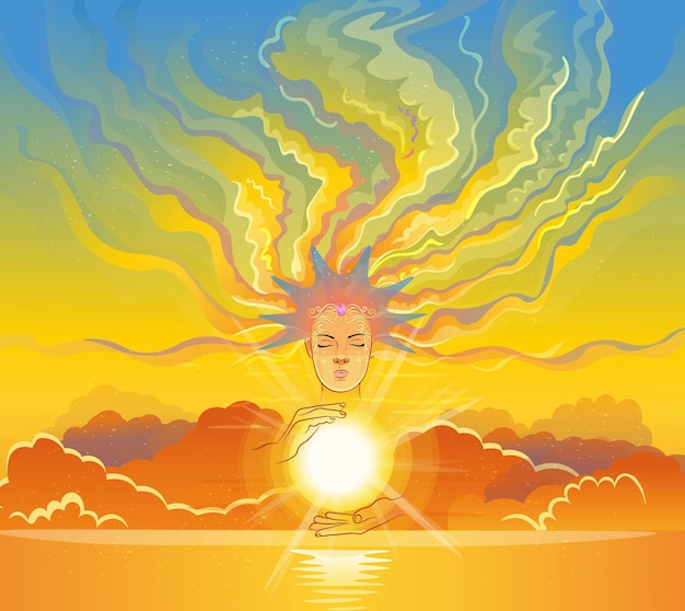 Portrait of a girl with diadem. she is holding the sun, her hair is clouds. vector illustration. Premium Vector