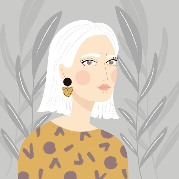 Portrait of a girl with white hair Premium Vector