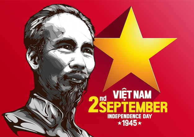 Portrait of ho chi minh vietnam independence day Premium Vector