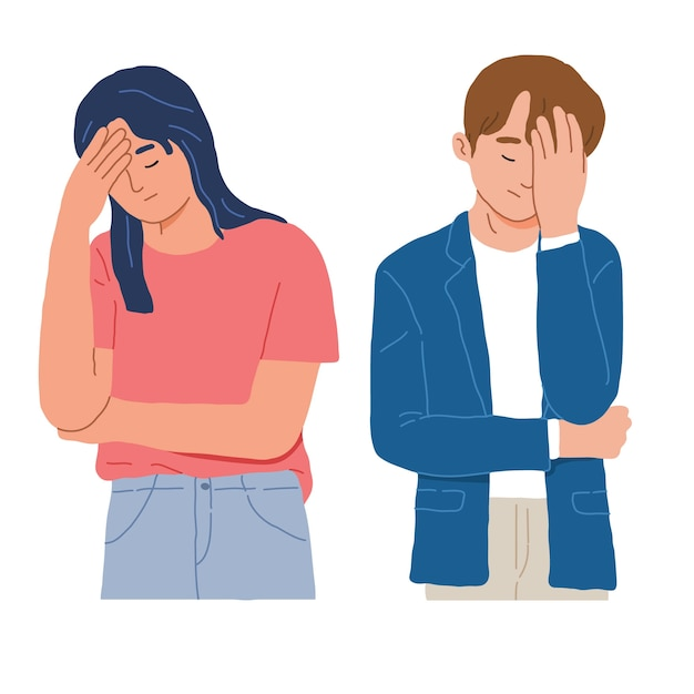 Portrait of a man and woman with facepalm gestures Free Vector