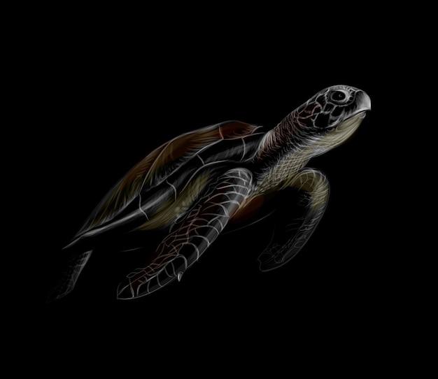 Портрет большой морской черепахи на черном фоне. иллюстрация Premium векторы