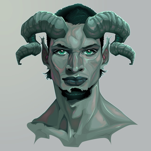 Portrait of a faun Free Vector
