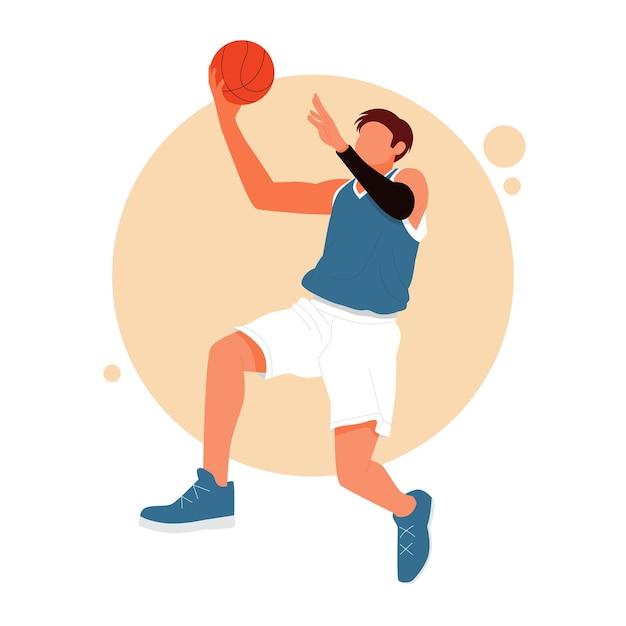 Портрет мужчины, играющего в баскетбол Premium векторы