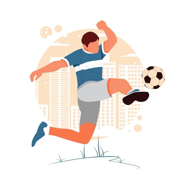 Портрет мужчины, играющего в футбол Premium векторы