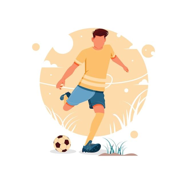 Портрет мальчика, играющего в футбол Premium векторы