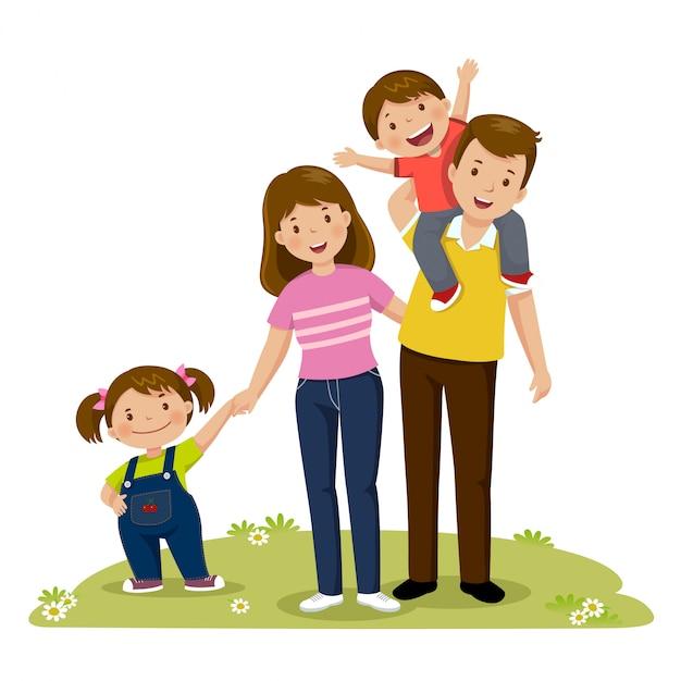 4人のメンバーの幸せな家族が一緒にポーズの肖像画。子供を持つ親 Premiumベクター