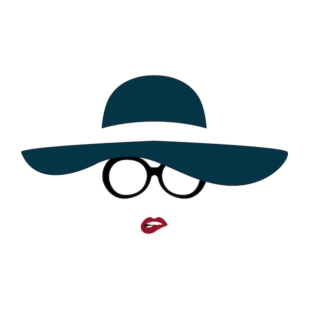 Portrait of lady in graceful hat and glasses bites her lip. Premium Vector