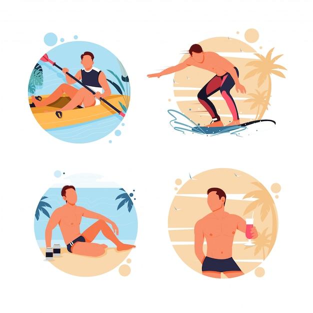 Портрет активности мужчин в летнее время. плоский дизайн иллюстрация Premium векторы