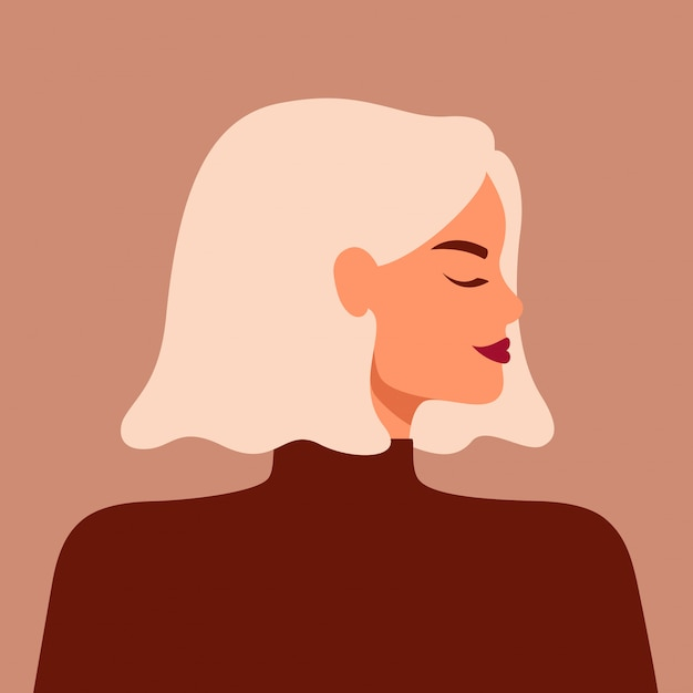 Портрет сильной красивой женщины в профиль со светлыми волосами. Premium векторы