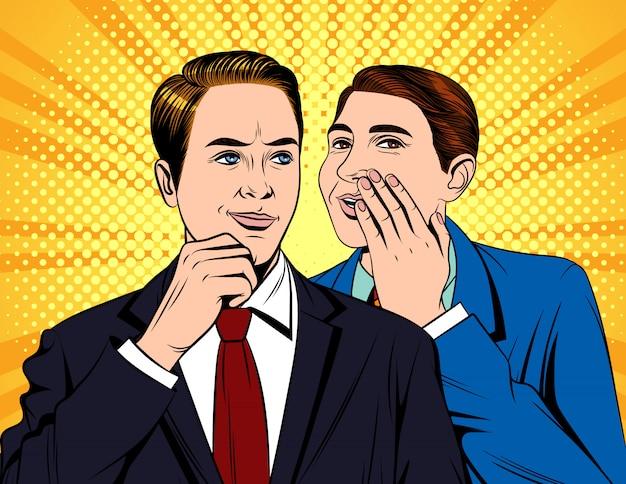 会話をしている2人の若いハンサムなビジネスマンの肖像画 Premiumベクター