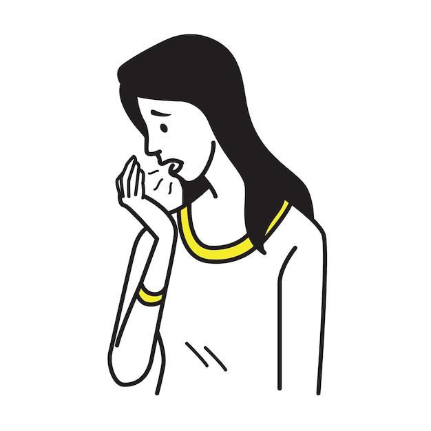 Portrait of pretty woman breath to her palm Premium Vector