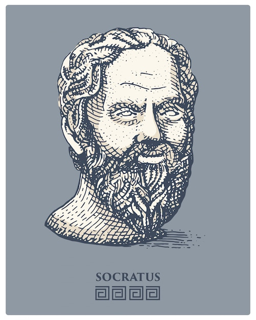Portrait of socrates. ancient greek philosopher, scientist, and thinker vintage, engraved hand drawn in sketch or wood cut style, old looking retro Premium Vector