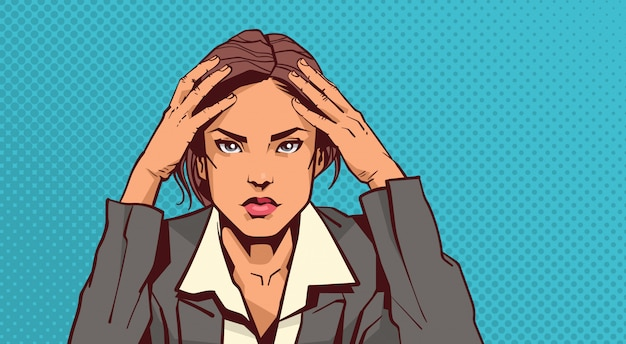 Portrait of stressed business woman holding head with headache businesswoman tired over pin up Premium Vector