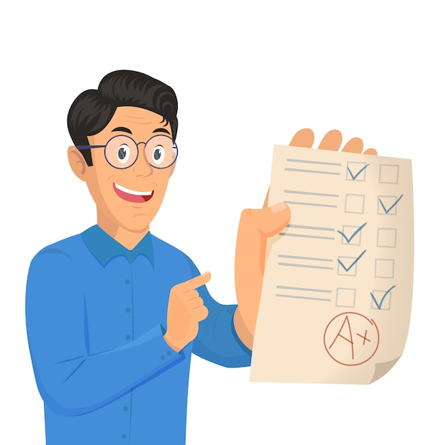 Portrait of teenager student showing perfect test results with a plus Premium Vector