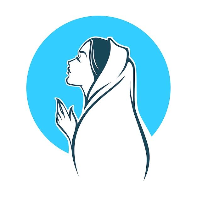 Portrait of virgin mary for your logo, label, emblem Premium Vector