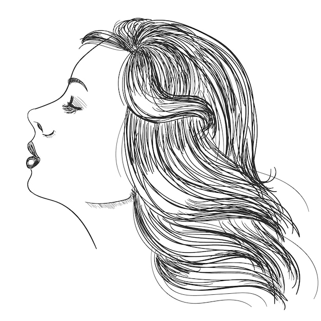 Portrait of a woman with beautiful hair Free Vector