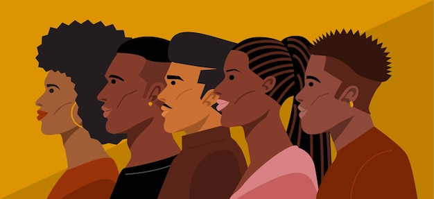 Premium Vector Portrait Of Young African American Hairstyles
