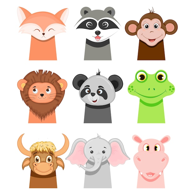 Portraits of funny animals for children on white. cartoon style. Premium Vector