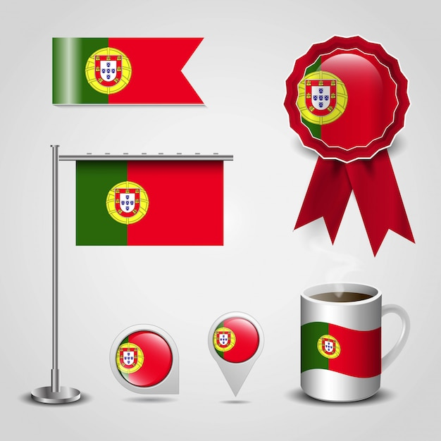 Portugal country flag place on map pin, steel pole and ribbon badge banner Premium Vector