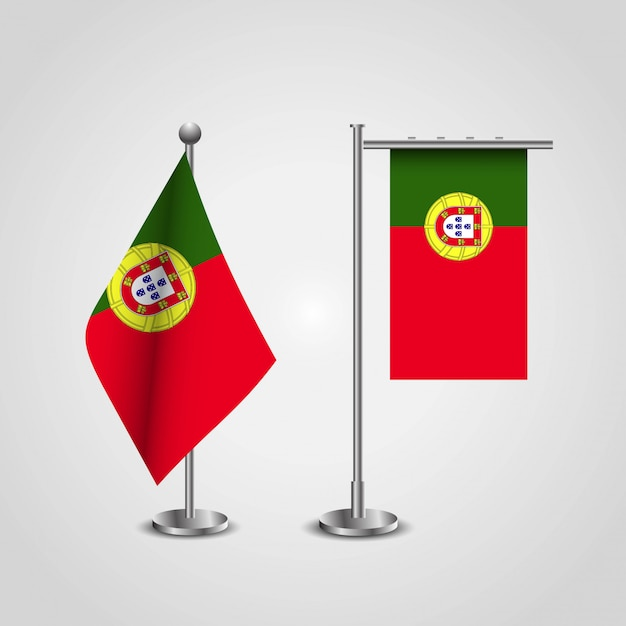 Portugal country flag on pole Premium Vector