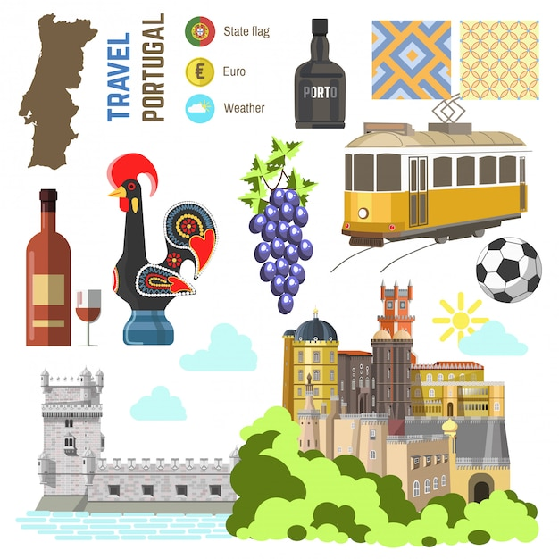 Portugal culture symbol set. europe travel lisbon direction. Premium Vector