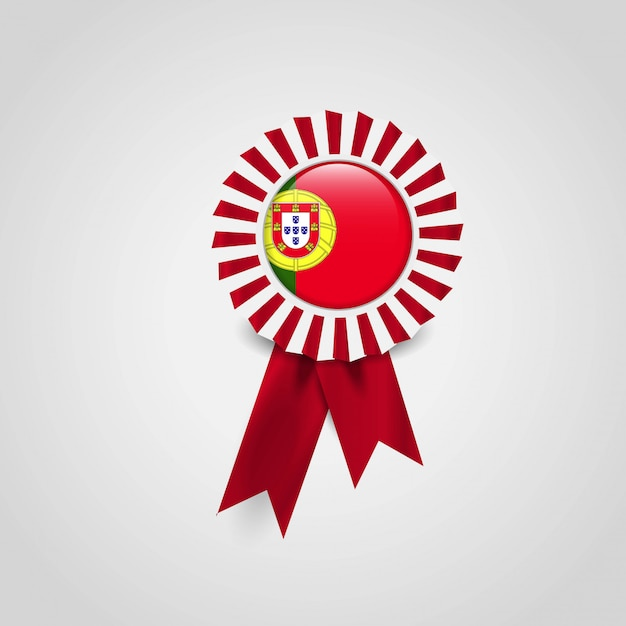 Portugal flag ribbon banner badge Premium Vector