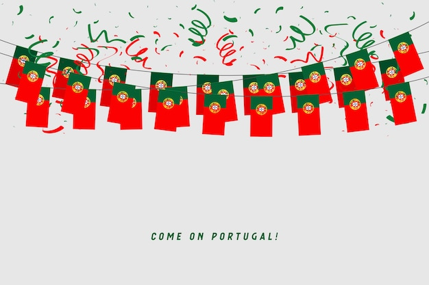 Portugal garland flag with confetti on gray background. Premium Vector