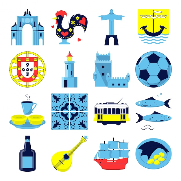 Portugal icons set in flat style Premium Vector