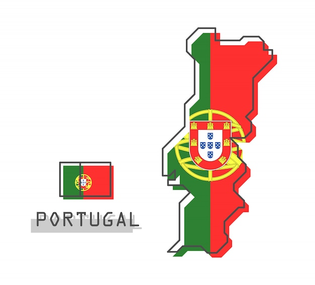 Portugal map and flag Premium Vector
