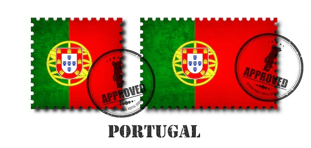 Portugal or portuguese flag pattern postage stamp Premium Vector