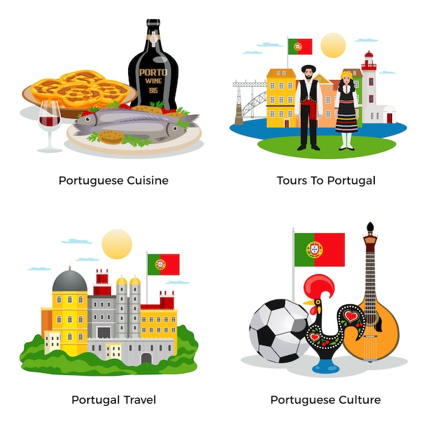 Portugal tourism concept icons set with cuisine and culture symbols flat isolated Free Vector