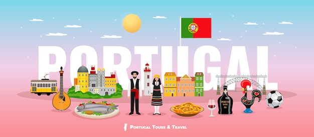 Portugal tourism concept with cuisine people and sights symbols flat Free Vector