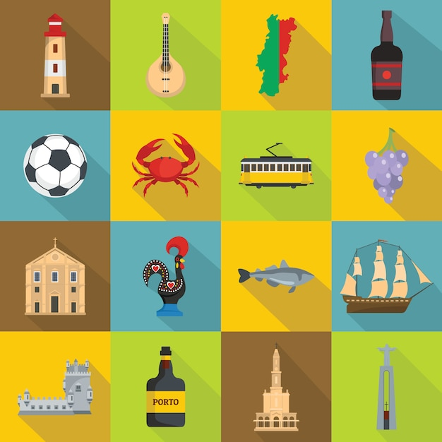 Portugal travel icons set, flat style Premium Vector