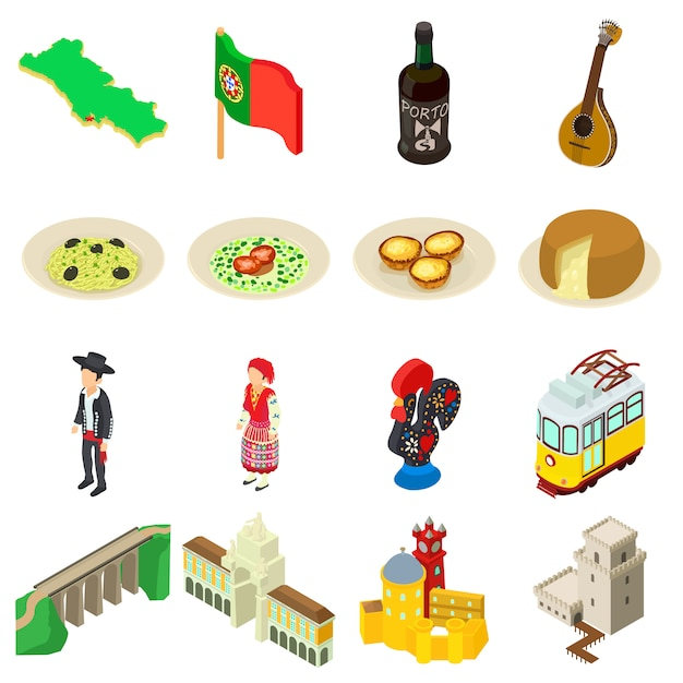 Portugal travel icons set. isometric illustration of 16 portugal travel vector icons for web Premium Vector