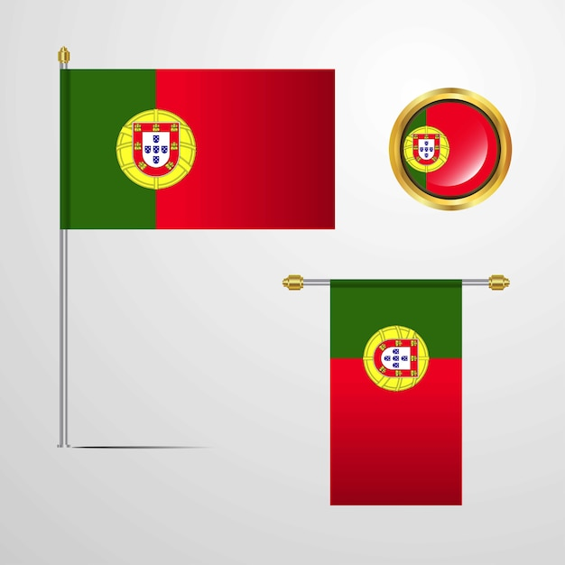 Portugal waving flag design with badge vector Premium Vector