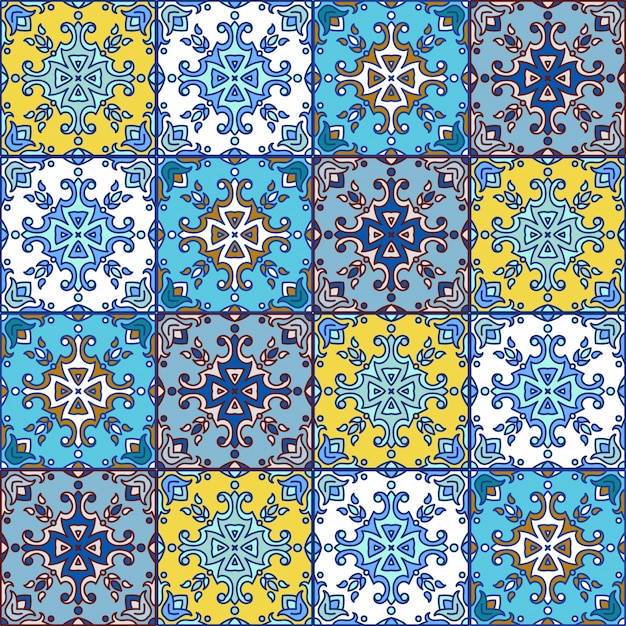 Portuguese azulejo tiles. blue and white gorgeous seamless patte Premium Vector